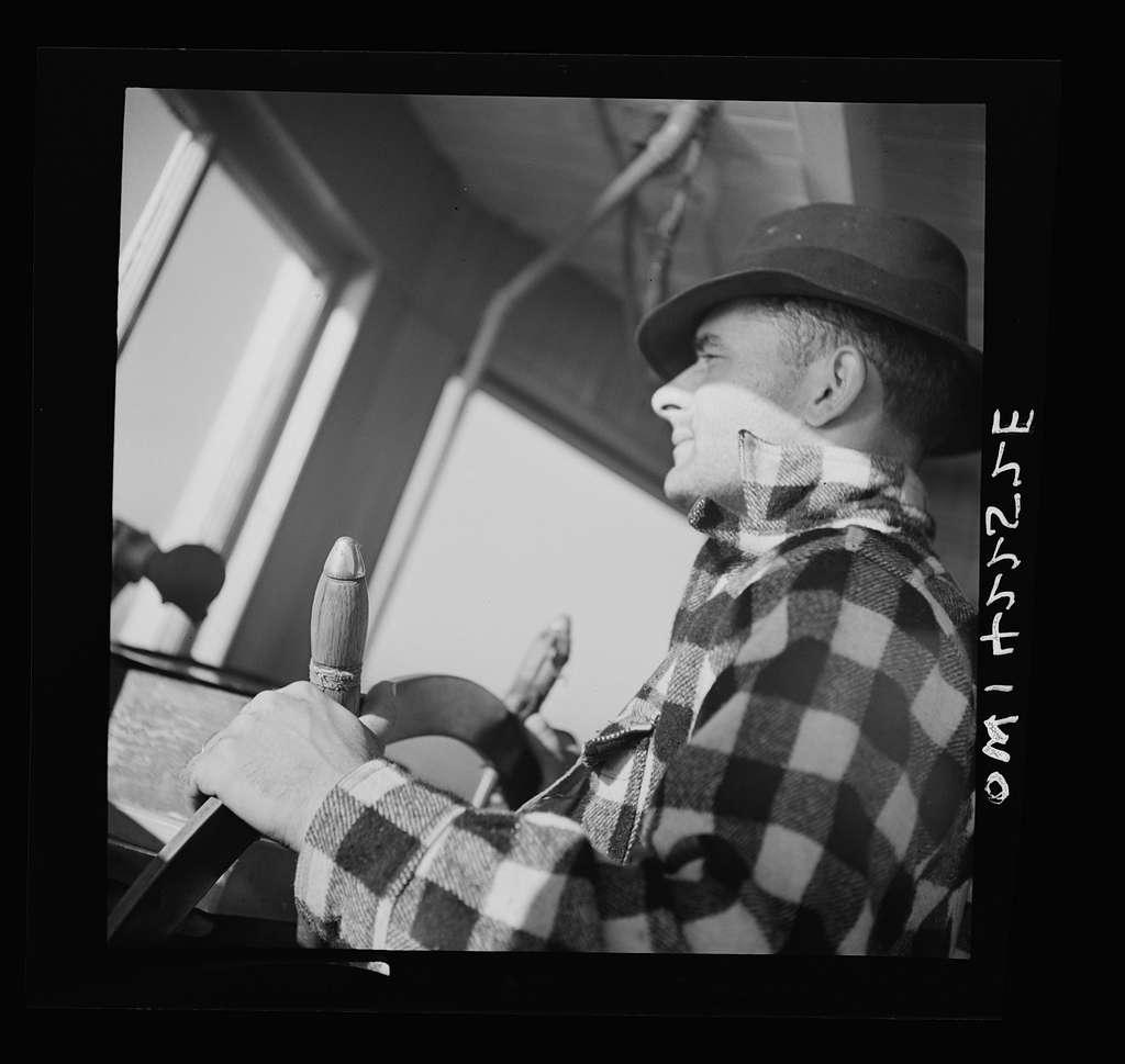"Gloucester, Massachusetts. Captain John Riberia on the fishing trawler ""Old Glory"""