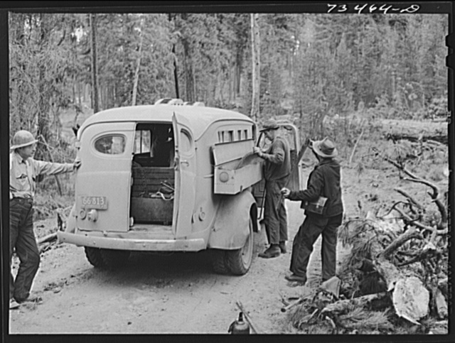 Grant County, Oregon. Malheur National Forest. Bus which carries saws, axes, and other tools used by lumberjacks into the woods