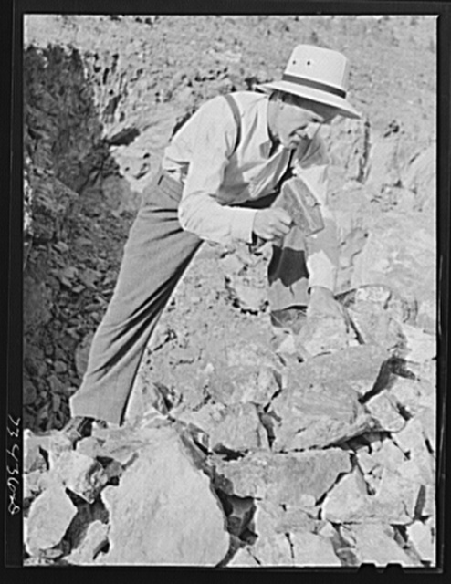 Grant County, Oregon. Prospector searching for deposits of chrome