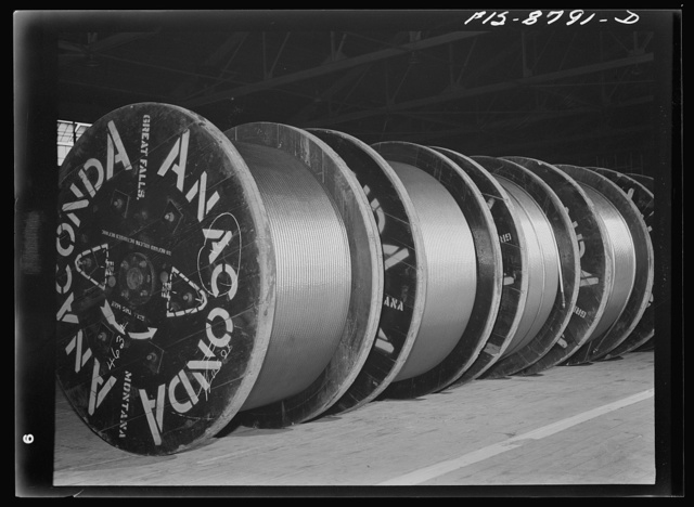 Great Falls, Montana. Anaconda Wire and Cable Company. Reels of hollow conductor cable