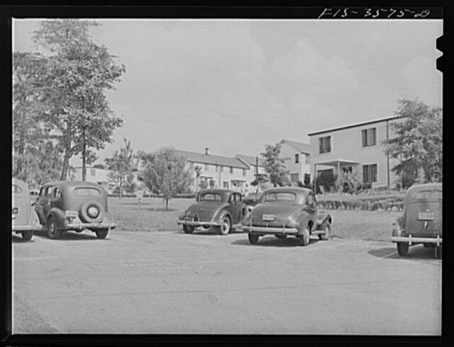 Greenbelt, Maryland. Houses showing parking arrangement at rear