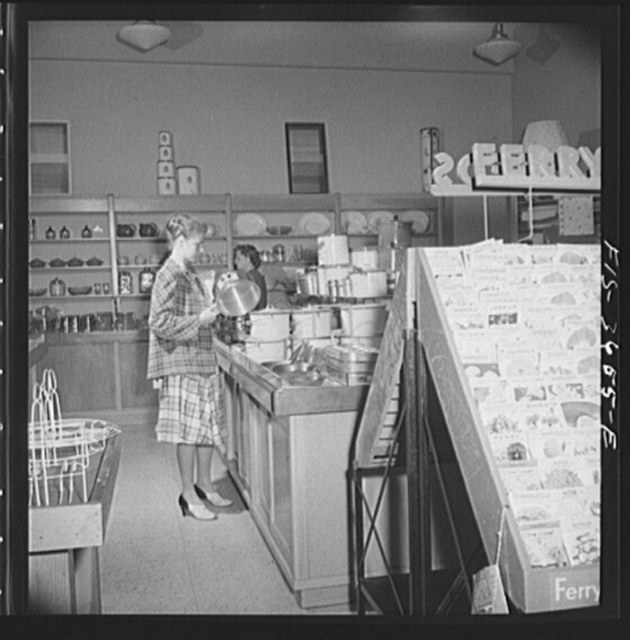 Greenbelt, Maryland. Interior of the Greenbelt variety store, a cooperative where garden tools, seeds, kitchen utensils, clothes, etc. are sold