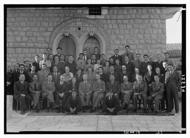 Group at P.B.S. [i.e., Palestine Broadcasting Service], Mr. Pastou's farewell, Mar. 1942