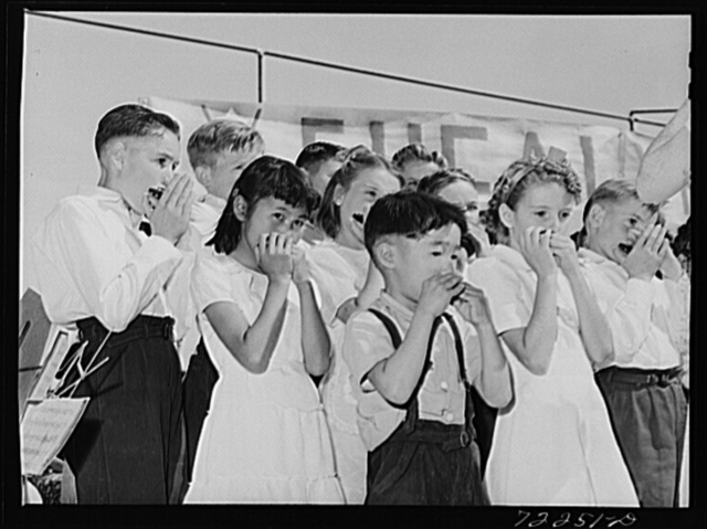Harmonica band, part of the schoolchildren's victory chorus at the Imperial County Fair, California