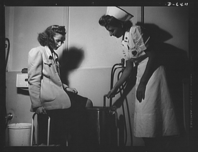 Health and welfare activities. North American Aviation. Expert medical attention is given all workers at North American Aviation in Inglewood, California. Whether the injury is incidental or major, all accidents are given immediate examination in NAA's hospital. Here, a young office worker gets a whirlfoam bath treatment in one of the company's hospital rooms