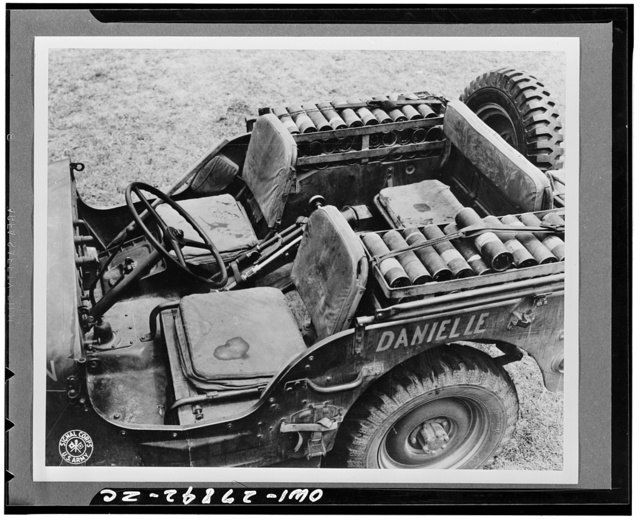 Heavy weapons combat car showing arrangements for gun and shells in New Caledonia