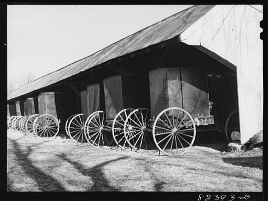 Hinkletown, Pennsylvania (vicinity). Carriages standing under shed outside Mennonite church
