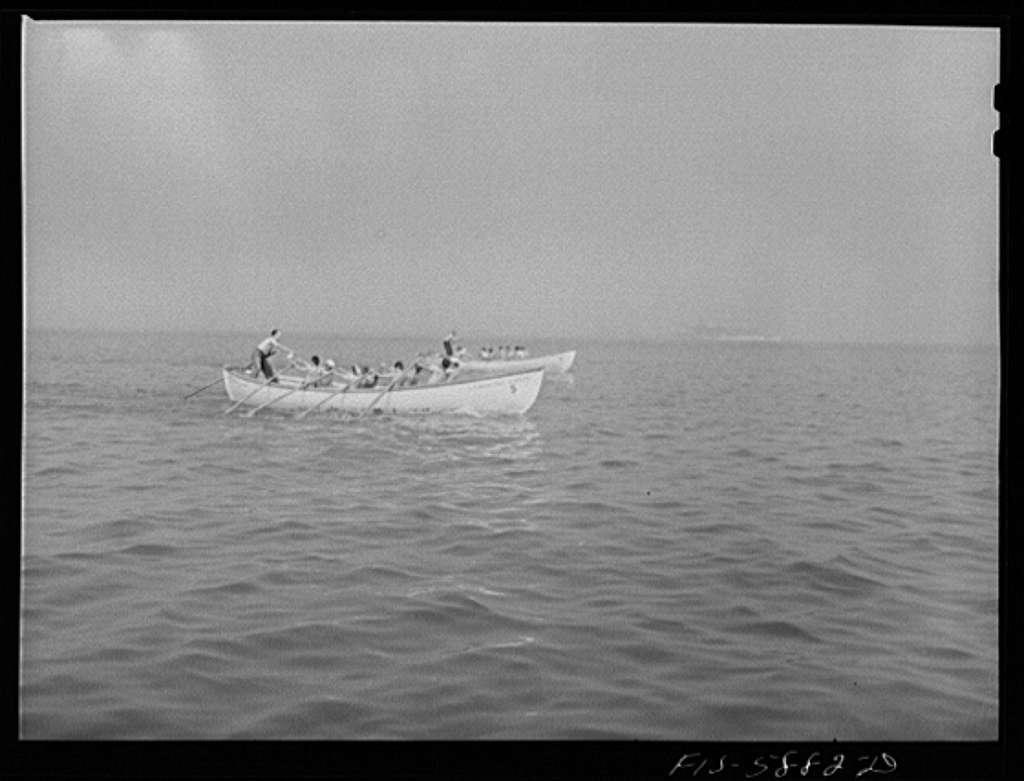 Hoffman Island, merchant marine training center off Staten Island, New York. Boat race