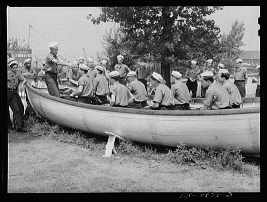 Hoffman Island, merchant marine training center off Staten Island, New York. Dry land drill