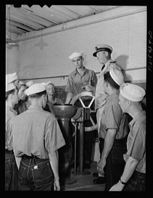 Hoffman Island, merchant marine training Center off Staten Island, New York. Piloting class