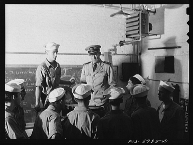 Hoffman Island, merchant marine training center off Staten Island, New York. Piloting class