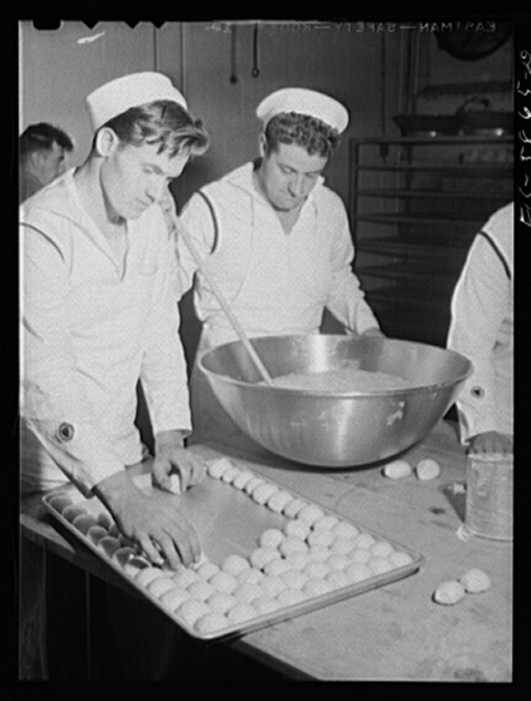Hoffman Island, merchant marine training center off Staten Island, New York. Trainees for steward's rating learning how to cook
