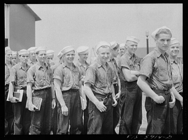 Hoffman Island, merchant marine training center off Staten Island, New York. Trainees