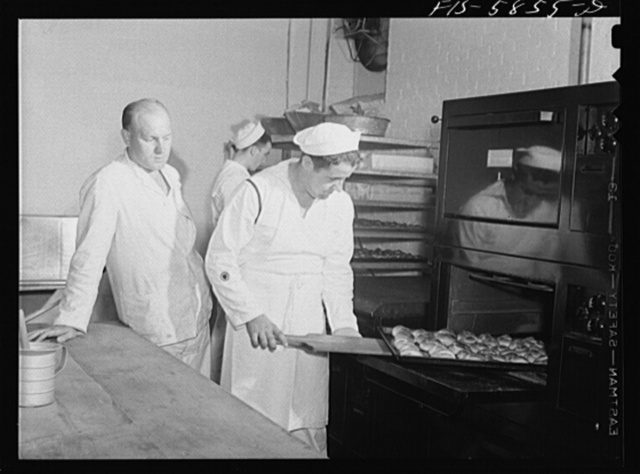 Hoffman Island, merchant marine training center off Staten Island, New York. Trainees for steward's rating learning how to bake