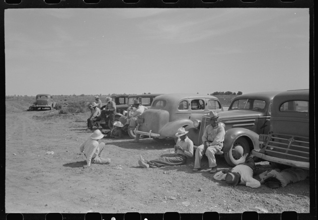 Imperial County, California. Agricultural workers during lunch hour