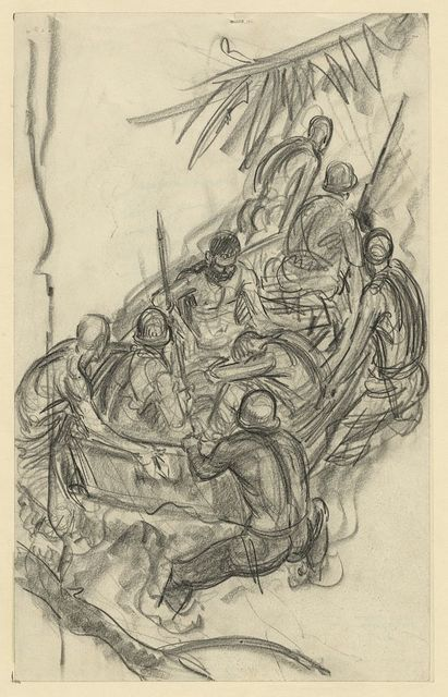 Impression bringing wounded down the Matanakau [e.g. Mataniko River] - Guadalcanal