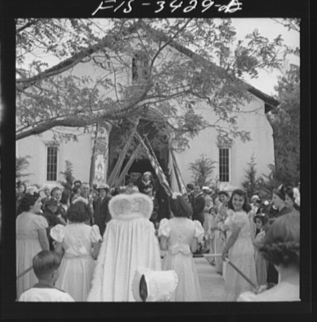 In front of the church during the Festival of the Holy Ghost, a Portuguese-American clecbration. Novato, California