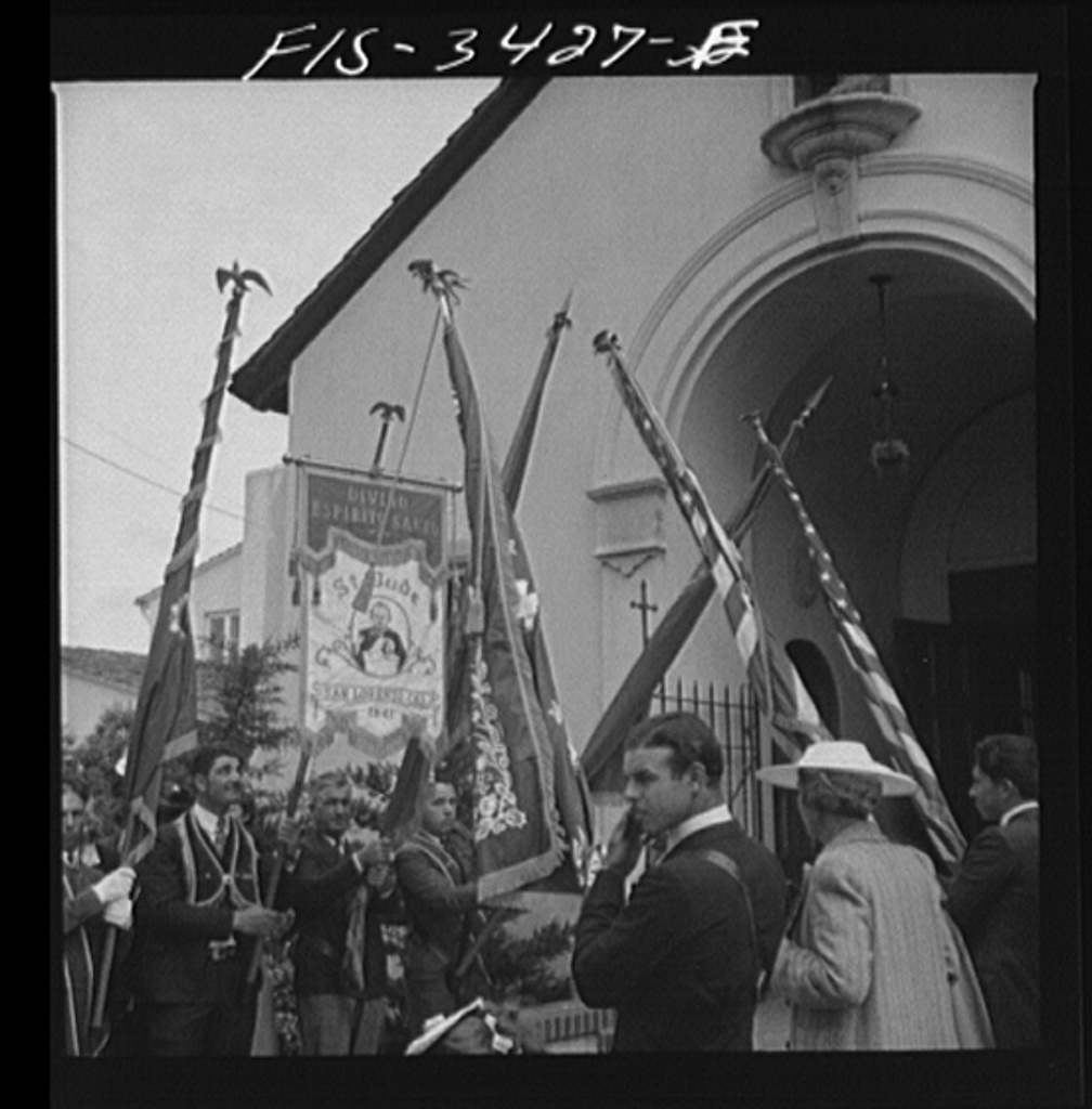 In front of the church during the Festival of the Holy Ghost, Portuguese-American celebration. Novato, California