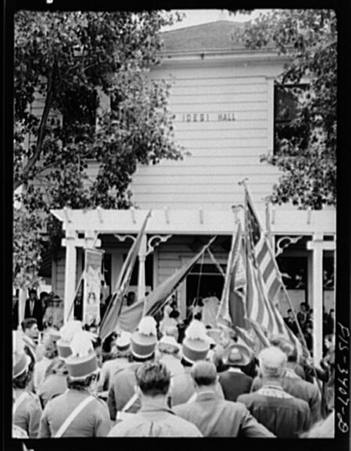 In front of the I.D.E.S.I. hall on the day the Portuguese-Americans had their Festival of the Holy Ghost at Novato, California