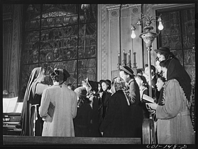 In the choir loft at the Corpus Christi Catholic church. South Side, Chicago, Illinois