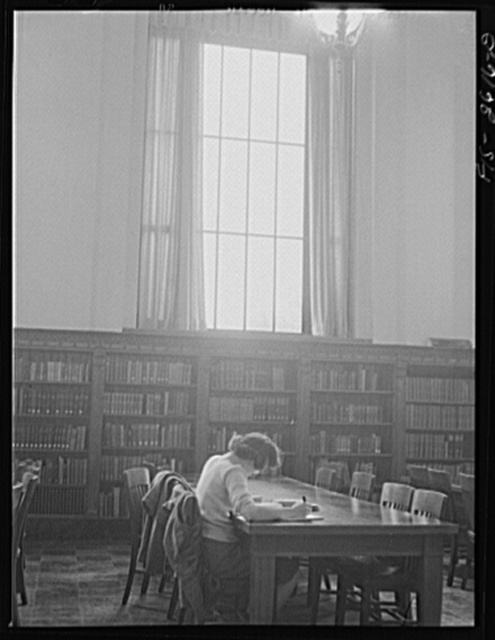 In the library at Iowa State College. Ames, Iowa