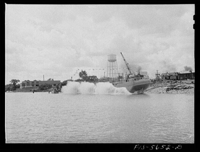 Ingalls Shipbuilding Company, Decatur, Alabama. Launching an Army barge