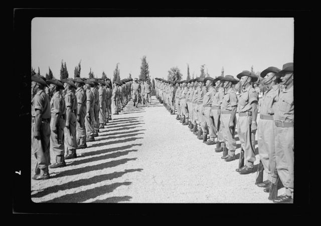 Inspection of Australian Guard of Honour at Government House by the Duke of Gloucester on May 15, 1942. Inspecting the guard (between two lines)
