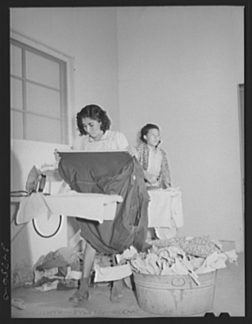 Ironing room, Robstown, Texas. FSA (Farm Security Administration) camp