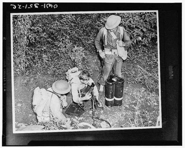 Jamaica, British West Indies. American troops stationed here set up a small trench mortar for maneuvers