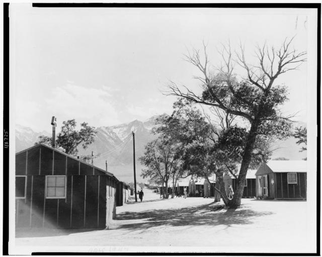 Japanese relocation, California. A view of the quarters at Manzanar, California, a War Relocation Authority Center where evacuees of Japanese ancestry will spend the duration. Mount Whitney, highest peak in the United States, is in the background