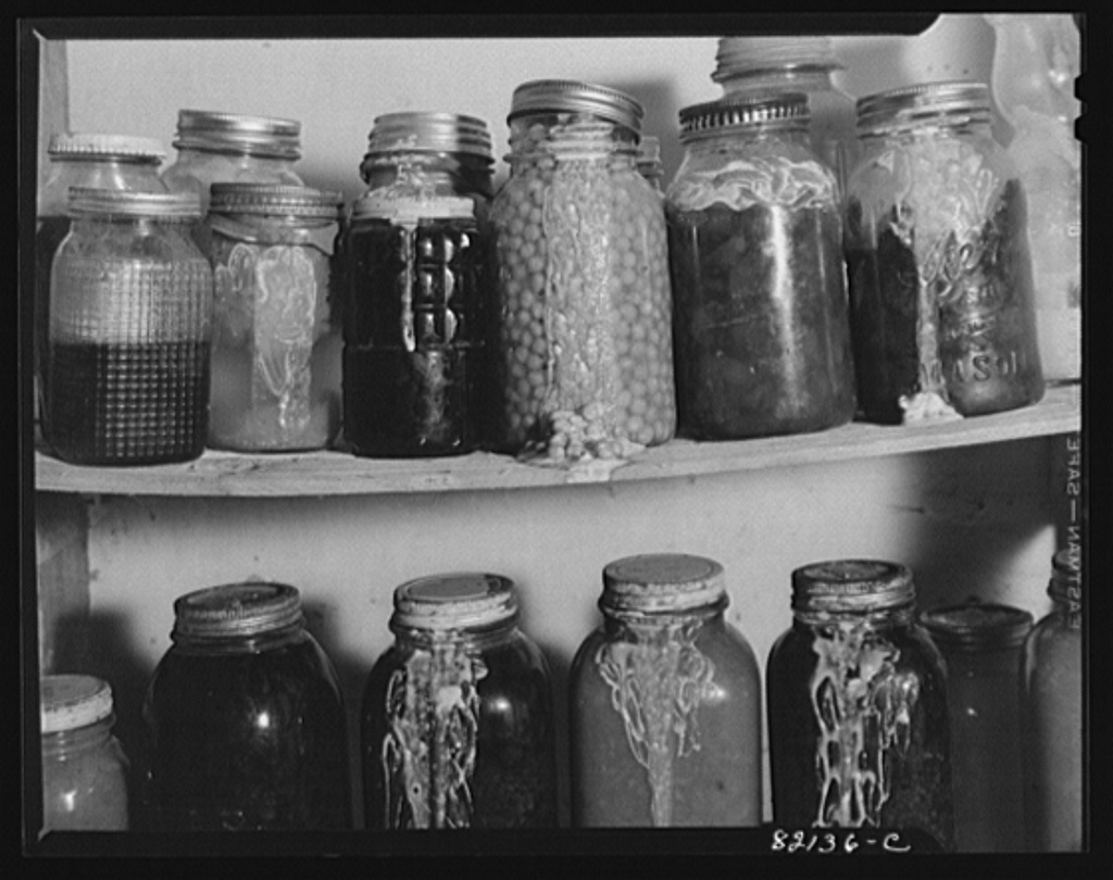 Jars stored too near to the stove get hot and blow their lids off. Calvert County, Maryland