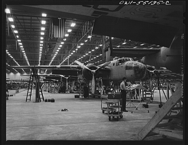 Kansas City, Kansas. A partial view of huge indoor assembly line of B-25 bombers at North American Aviation Inc.