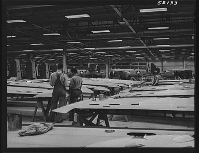 Kansas City, Kansas. An assembly line of bomber planes at the North American Aviation Inc.4 plant