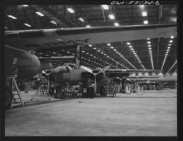 Kansas City, Kansas. The interior of a plant of North American Aviation Inc., where B-25 bombers are receiving final assemblies