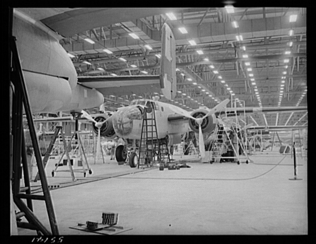 Kansas City, Kansas. The interior of an assembly line, showing a B-25 bomber in the foreground at the North American Aviation Inc. plant