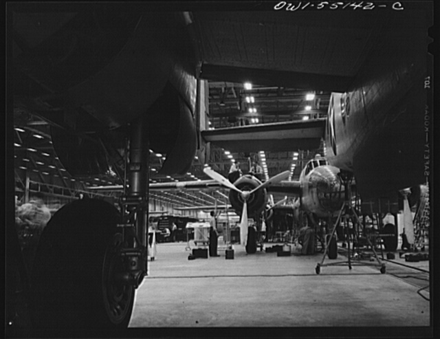 Kansas City, Kansas. The interior view of an assembly line of B-25 bombers at North American Aviation Inc.