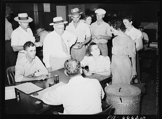 Kennett, Dunklin County, Missouri. Voting in the primary elections at the courthouse