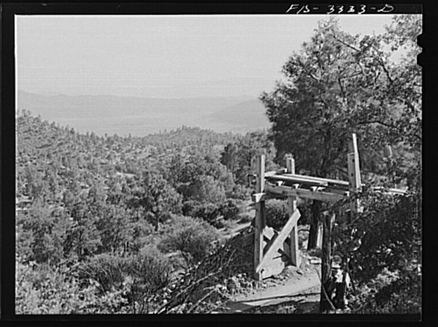 Kern County, California. Tungsten Chief Mine. Mountainous country around the ore loading platform
