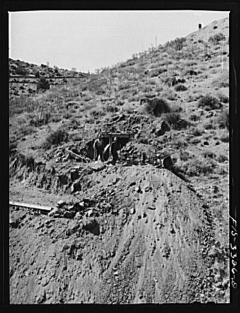 Kern County, California. Tungsten Chief Mine. Starting to mine a new vein of tungsten core