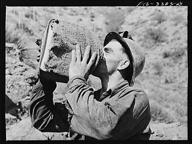 Kern County, California. Tungsten Chief Mine. Tungsten miner drinking water