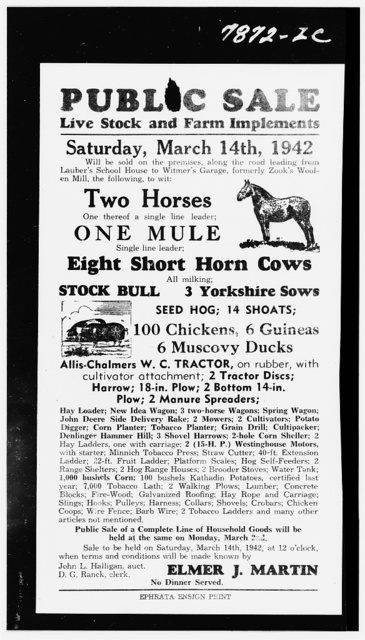Lancaster County, Pennsylvania. Advertisement of an auction