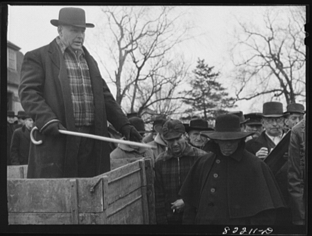 "Lancaster County, Pennsylvania. Amish, Mennonite, and Pennsylvania Dutch farmers all came to this farm auction so that the auctioneer ran the bidding in ""Deutsch"" as well as English"
