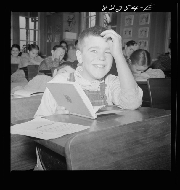 Lancaster County, Pennsylvania. Student in Lancaster County Mennonite public school where Amish, Mennonite and Pennsylvania Dutch children attend this eight grade, one-room schoolhouse