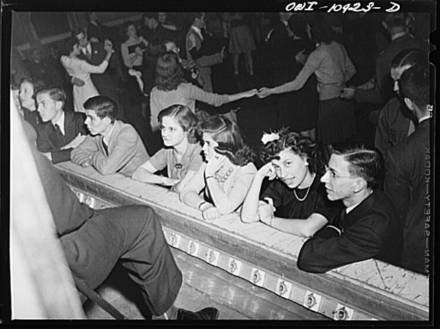Lancaster, Pennsylvania. Company dance given in Moose Hall so that the Hamilton Watch Company new employees might get acquainted. Jazz fans listening to the orchestra