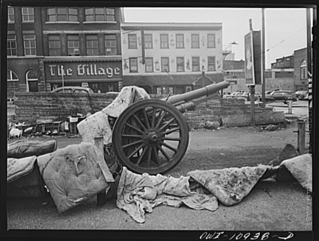 Lancaster, Pennsylvania. Everyone was asked to dump his scrap in a vacant lot at the center of town. It was then bought by a junk man and salvaged