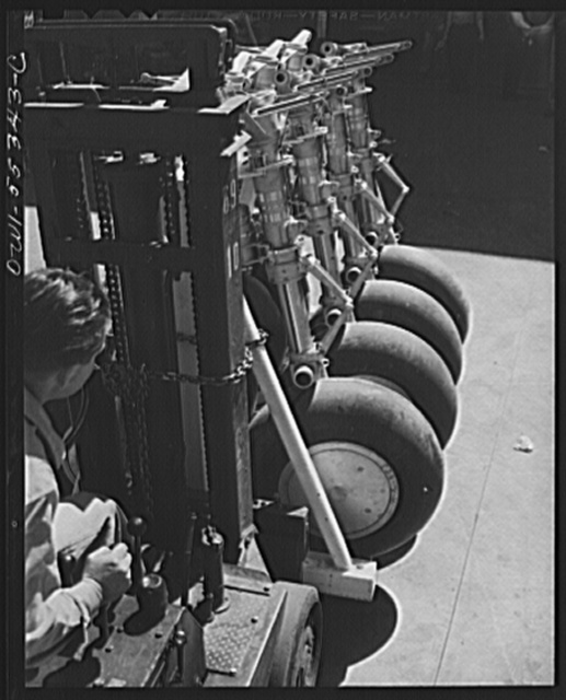 Landing gears completely assembled are delivered to the final assembly floor, where they will be attached to B-25 bombers