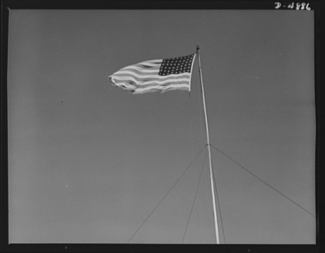 Langley Field, Virginia. YB-17 bombardment squadron. Old Glory floats proudly over the nation's oldest air base at Langley Field, Virginia. Among the Air Force groups stationed at this important point are bombardment squadrons equipped with mighty YB-17 bombers