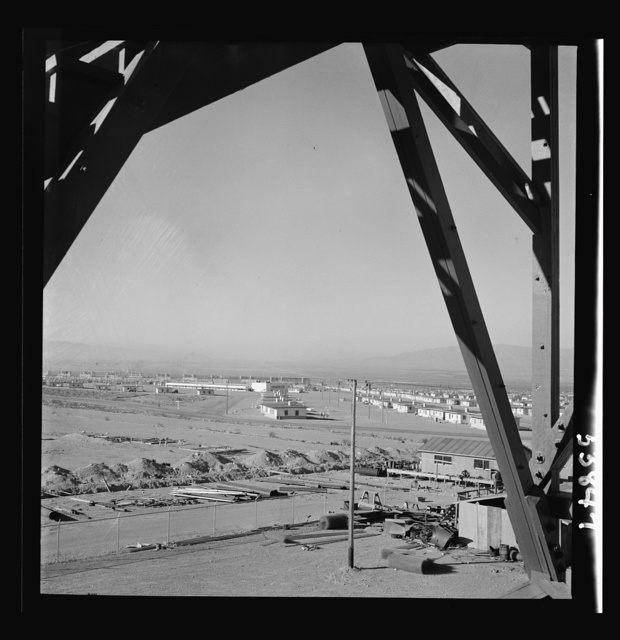 Las Vegas, Nevada. A view from a watchtower, showing the Basic Magnesium Incorporated plant, its 1,000 unit housing development, transmission lines and roads