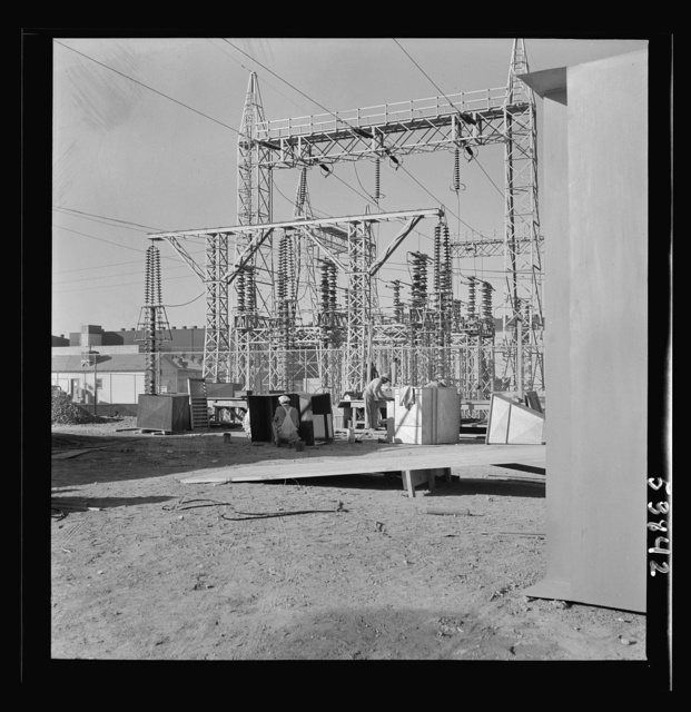 Las Vegas, Nevada. Transmission towers and transformers redistributing power from Boulder Dam to Basic Magnesium Incorporated, which produces huge quantities of the lightest of all metals for aircraft and other wartime manufacturing