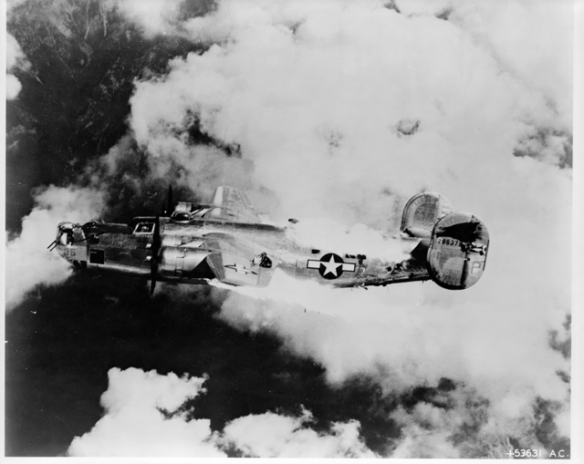 Last moments of a flaming B-24 Liberator after raid over Austria